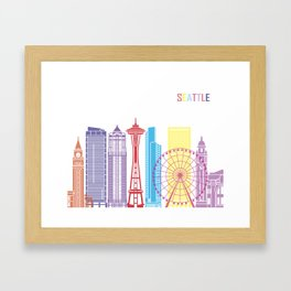 Seattle V2 skyline pop Framed Art Print