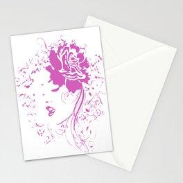 Hiding Girl Pink Vintage Stationery Cards