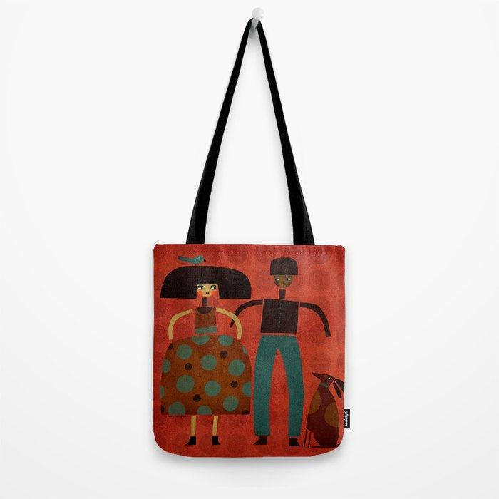COUPLE & DOG & BIRD Tote Bag