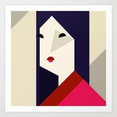 geometric girl Art Print