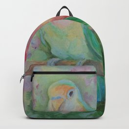 LOVEBIRDS Wildlife tropical birds painting Pastel colors scenic illustration of parrots Backpack