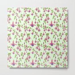 Watercolour Fuchsia Flower Pattern - Mint Metal Print
