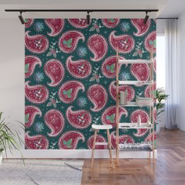 Christmas Paisley with Holly, Mistletoe and Poinsettia / Teal Wall Mural