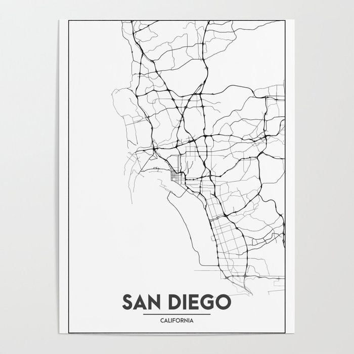 Minimal City Maps - Map Of San Diego, California, United States Poster by  valsymot
