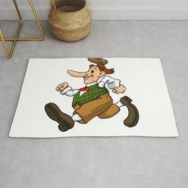 running man cartoon Rug