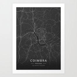 Coimbra, Portugal - Dark Map Art Print