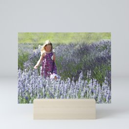 Girl in a Field of Lavender Mini Art Print