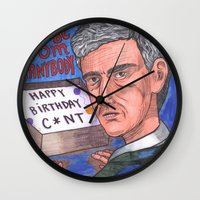 birthday Wall Clocks featuring Birthday by Anna Gogoleva