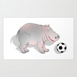 Hippo playing Football Art Print
