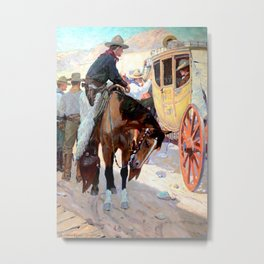 """Santa Fe Coach"" by W Herbert Dunton Metal Print"