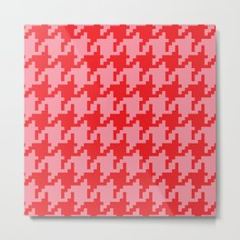Houndstooth - Pink & Red Metal Print