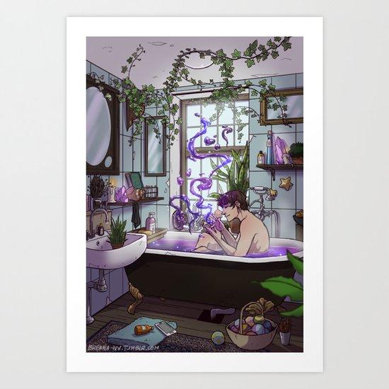 modern male witch bathroom art print