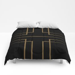 Art Deco Gold/Black Pattern IV Comforters