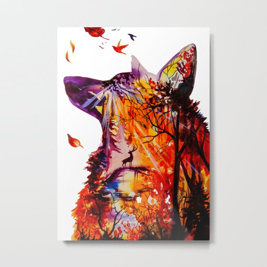 Autumn (The wolf, the deer and the autumn forest) Metal Print