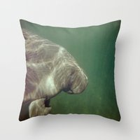 manatee Throw Pillows featuring Manatee by Twilight Wolf