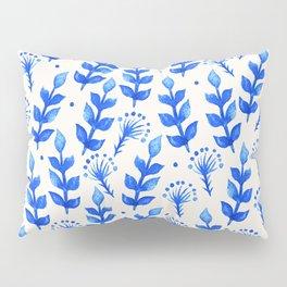 watercolor blue leaves Pillow Sham