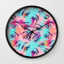 Mascara and colored eye shadow Pattern Wall Clock