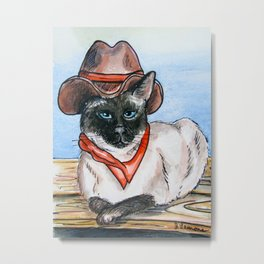 Yang Cowgirl Kitty Metal Print