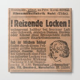 Funny German Vintage Advertising Reizende Locken Metal Print
