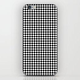 Classic Black & White Small Diamond Checker Board Pattern iPhone Skin