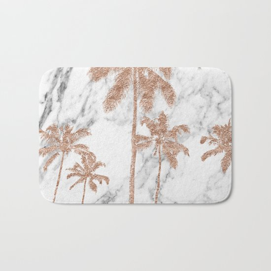 Rose gold palms on marble Bath Mat