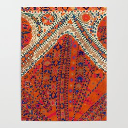Orange Wildflower Sunshine III // 18th Century Colorful Rusty Red Bright Blue Metallic Happy Pattern Poster