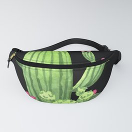 Flowering Cactus Bunch on Black Fanny Pack