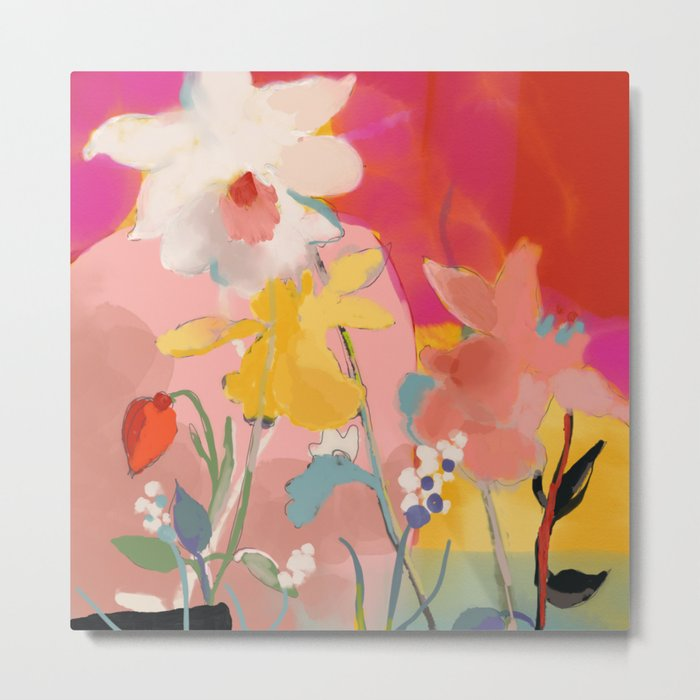 blooming abstract pink Metal Print - bright square metal wall art