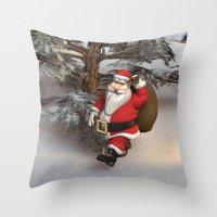 santa Throw Pillows featuring Santa by Design Windmill