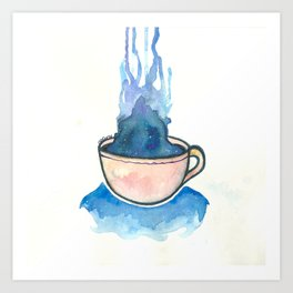Space, tea, ocean Art Print