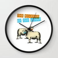 silence of the lambs Wall Clocks featuring The silence of the lambs by Marta Colomer