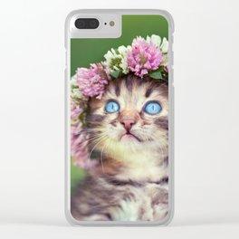 Springtime Feline Princess Clear iPhone Case