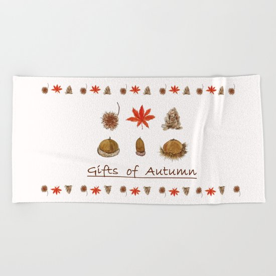 Gift of autumn watercolor painting Beach Towel