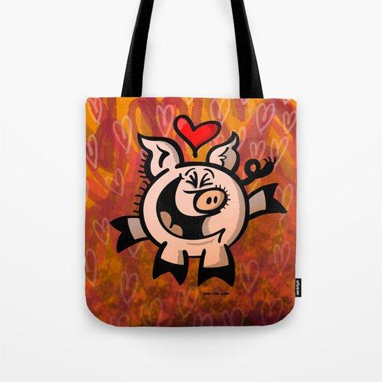 Pig Falling Head over Heels in Love Tote Bag
