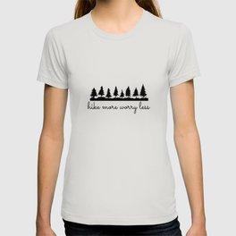 Hike More Worry Less Black Trees T-shirt