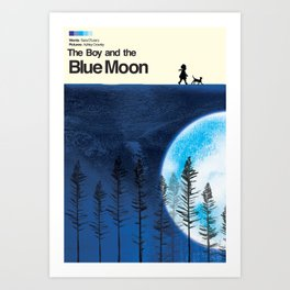 The Boy and the Blue Moon Art Print