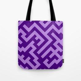 Lavender Violet and Indigo Violet Diagonal Labyrinth Tote Bag