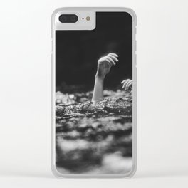 She Needs Help (Black and White) Clear iPhone Case