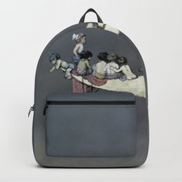 """"""" Moon's First Voyage"""" Fairy Art by W Heath Robinson Backpack"""
