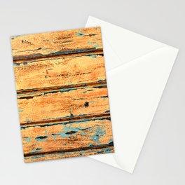 Orange Planks, Wood Texture Decor Stationery Cards
