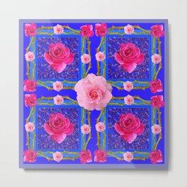 BLUE  GEOMETRIC ART CERISE & PINK FUCHSIA ROSES Metal Print