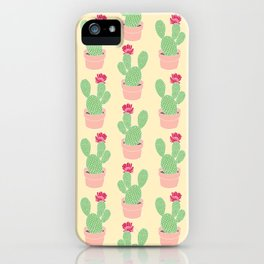 Cactus Pattern Illustration in Bloom Green Pink Yellow iPhone Case