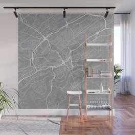 Knoxville Map, Tennessee USA - Pewter Wall Mural