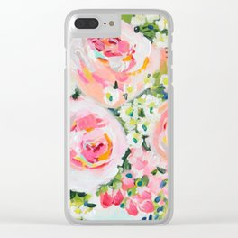 Cottage chic pink peony bouquet Clear iPhone Case