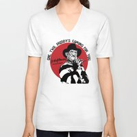 freddy krueger V-neck T-shirts featuring Freddy K quote by Buby87