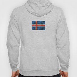 Vintage Aged and Scratched Icelandic Flag Hoody