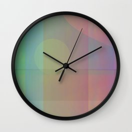 Captive Moon: A Soft Yellow Circle on a Linear Path Held Behind a Veil of Colors Wall Clock