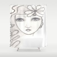 great gatsby Shower Curtains featuring Daisy (The Great Gatsby inspired) by Lesa Barry