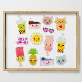 Hello Summer. Pineapple, cherry smoothie cup, ice cream, sun, cat, cake, hamster. Kawaii cute face. Serving Tray