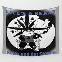 cannabis Wall Tapestries featuring Timothy The Cannabis Bear by Timmy Ghee CBP/BMC Images  copy written
